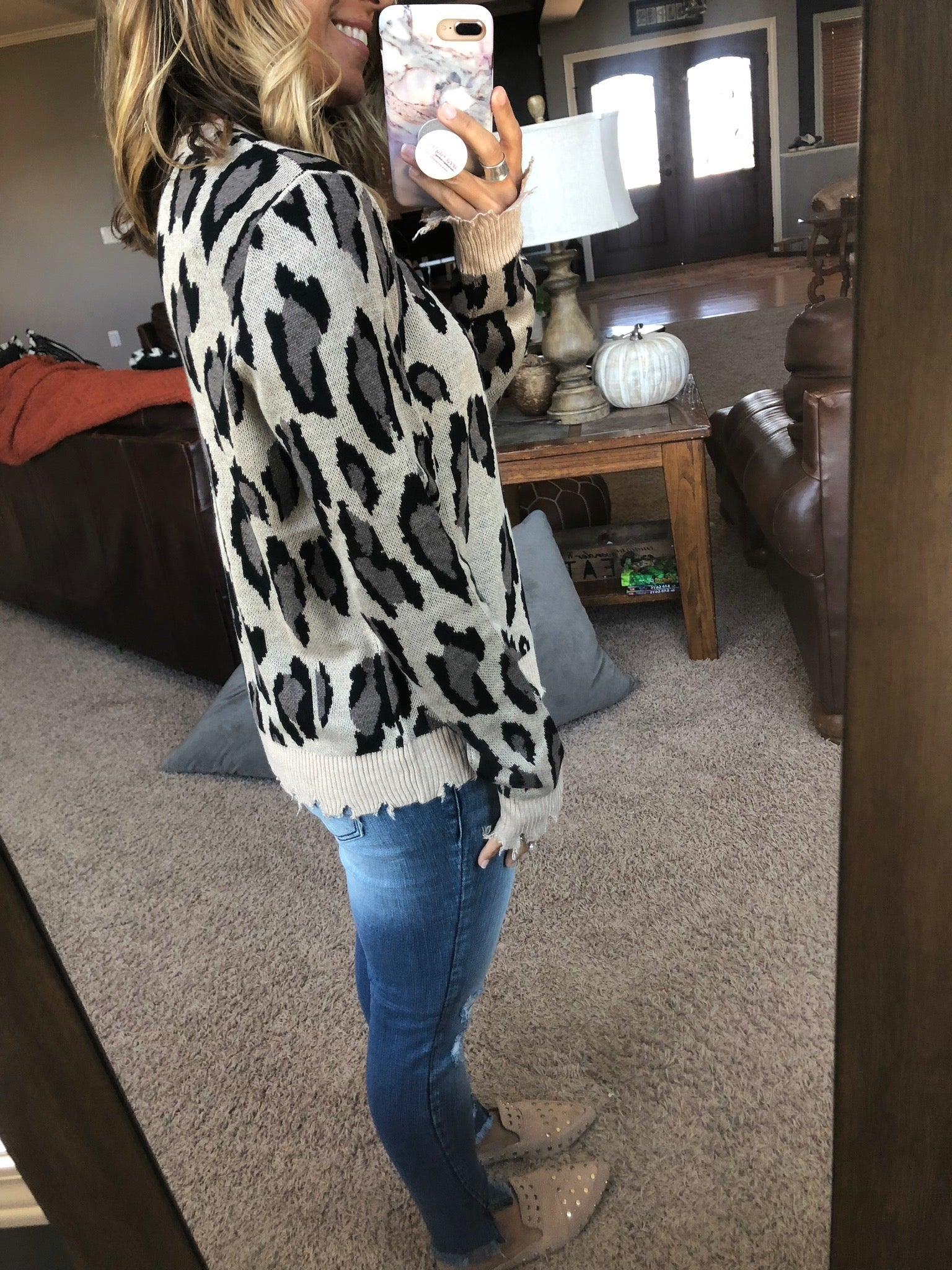 Tangled Up In You Distressed Leopard Sweater