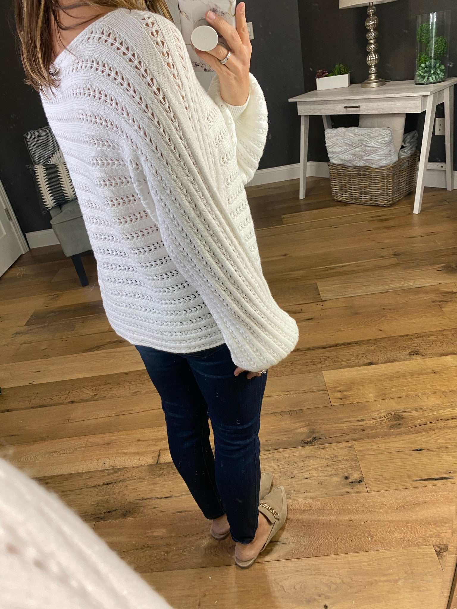 Don't Hold Back Knit Sweater with Eyelets and Balloon Sleeve