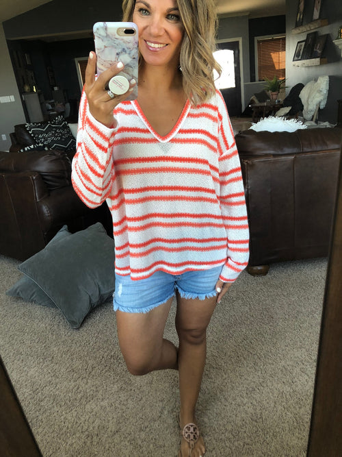 Forever Daydreamer White and Coral Striped Lightweight Knit V-Neck Sweater