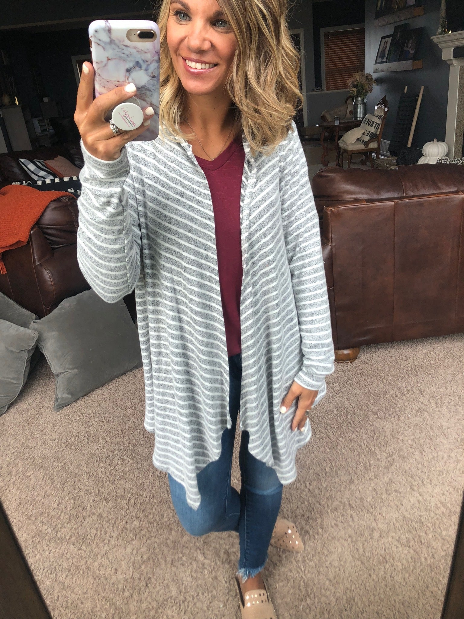 That's A Wrap Heather Grey and Ivory Striped Brushed Fleece Hooded Cardigan