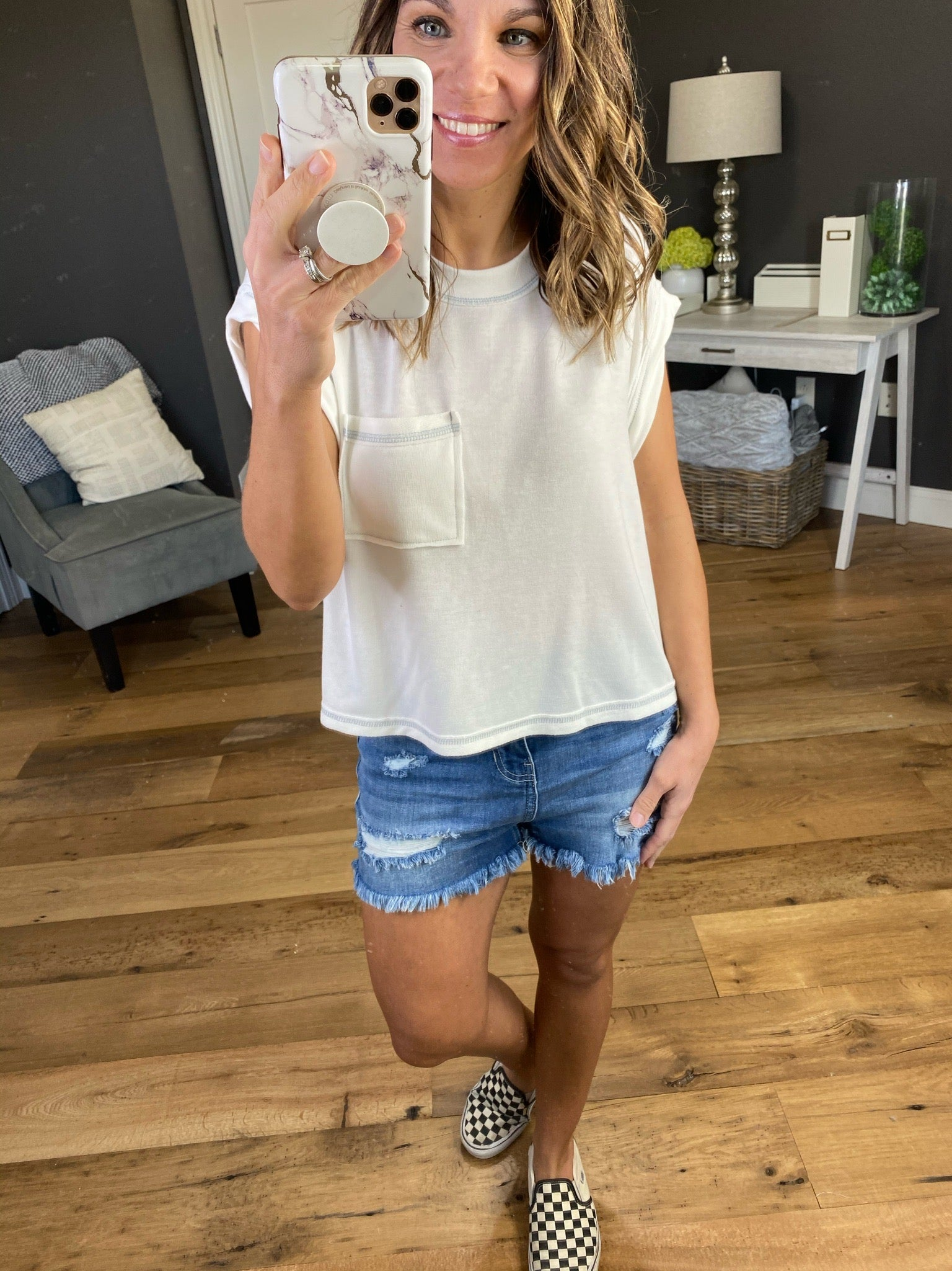 Saying Goodbye Ivory Sleevless Top with Front Pocket