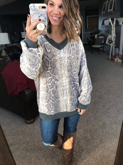 Just One Reason Snake Print Brushed Fleece Sweater