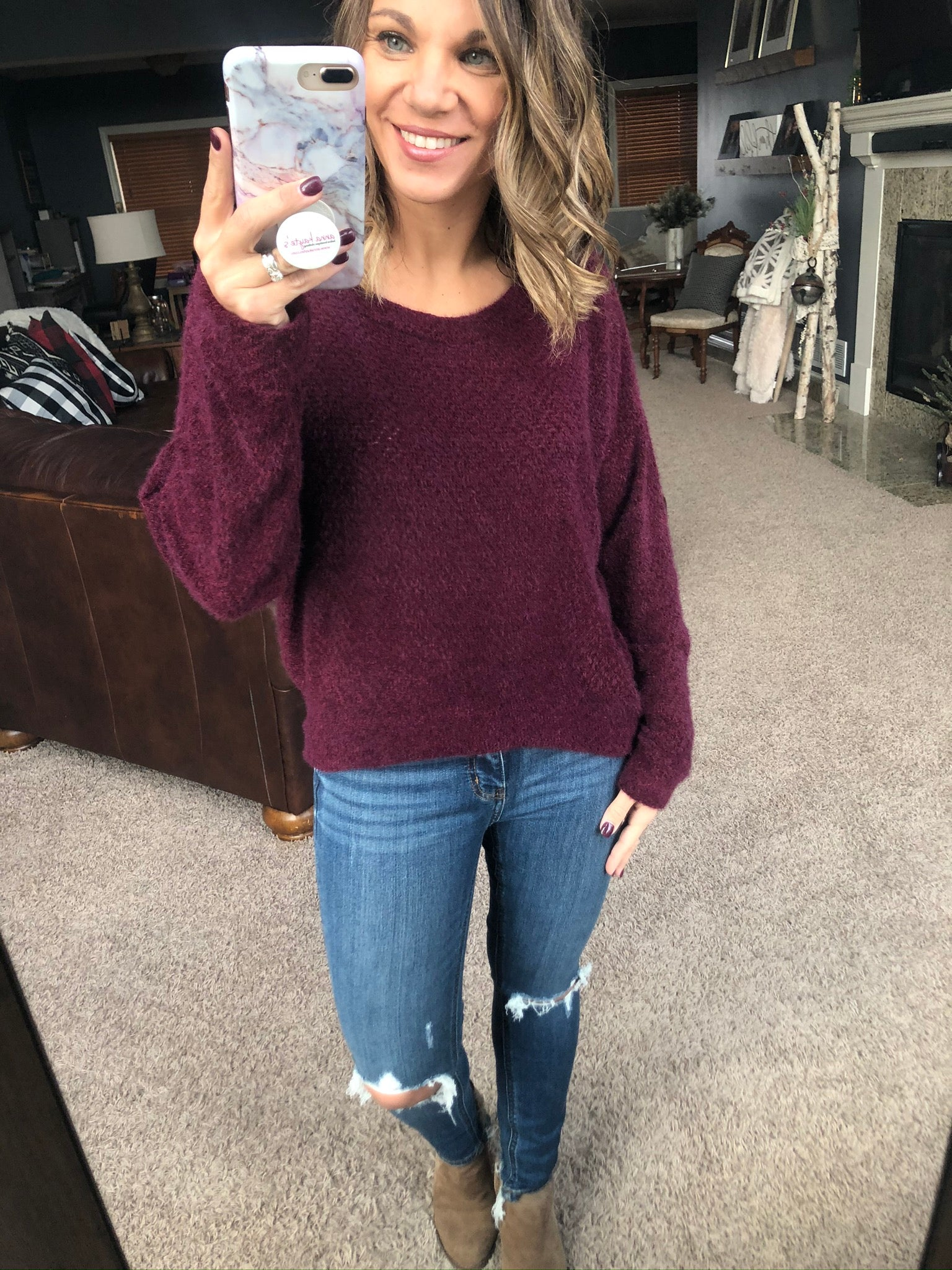 Forever Better Burgundy Eyelash Sweater