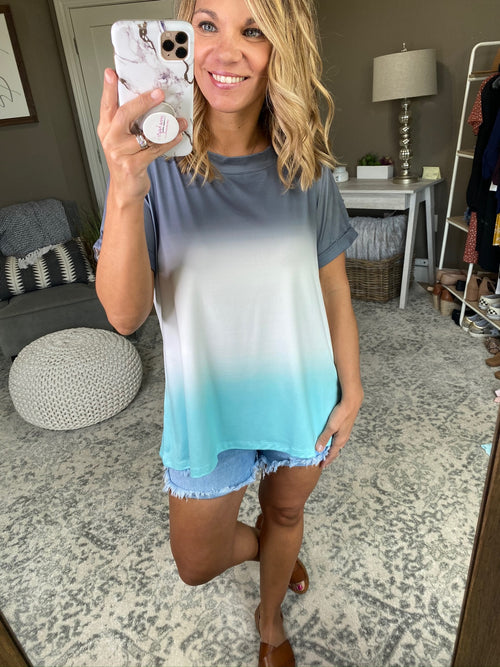 Home For The Summer Dip Dyed Ombre Tee- Charcoal, Ivory and Mint Ombre