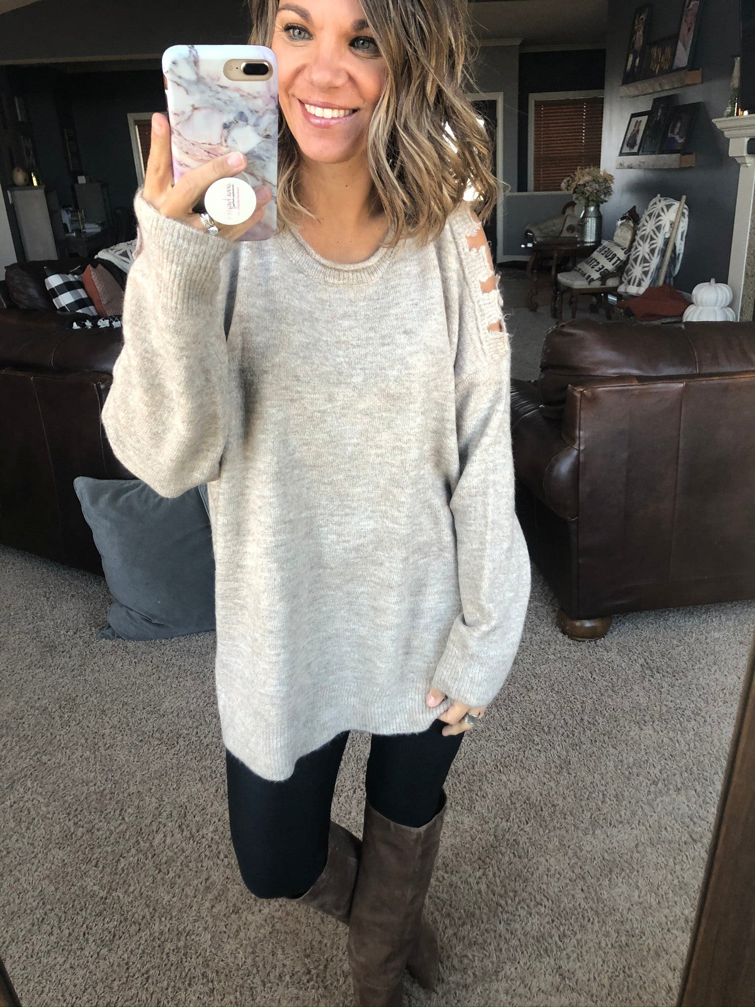 Nothin' But Trouble Crew Neck Sweater with Distressed Cold Shoulder- Cream