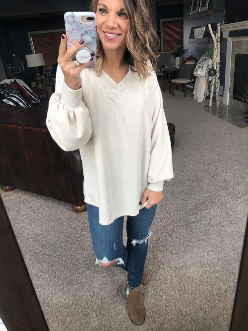 Missin' So Much Cream Textured V-Neck Sweater with Balloon Sleeve