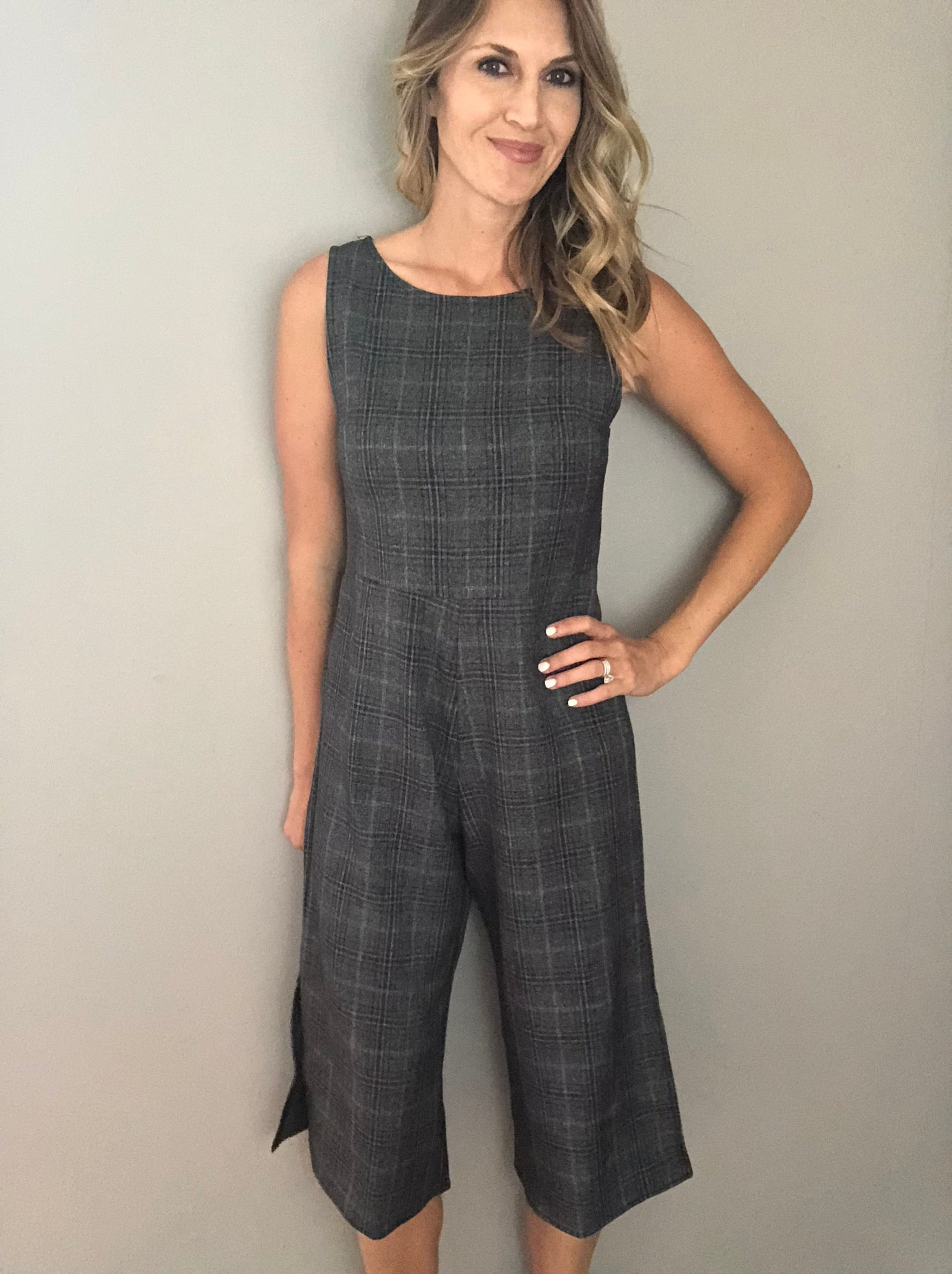 Stepping Out Plaid Jumpsuit