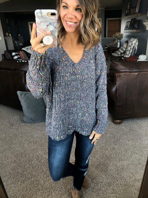 Lights On Chenille Confetti V-Neck Sweater