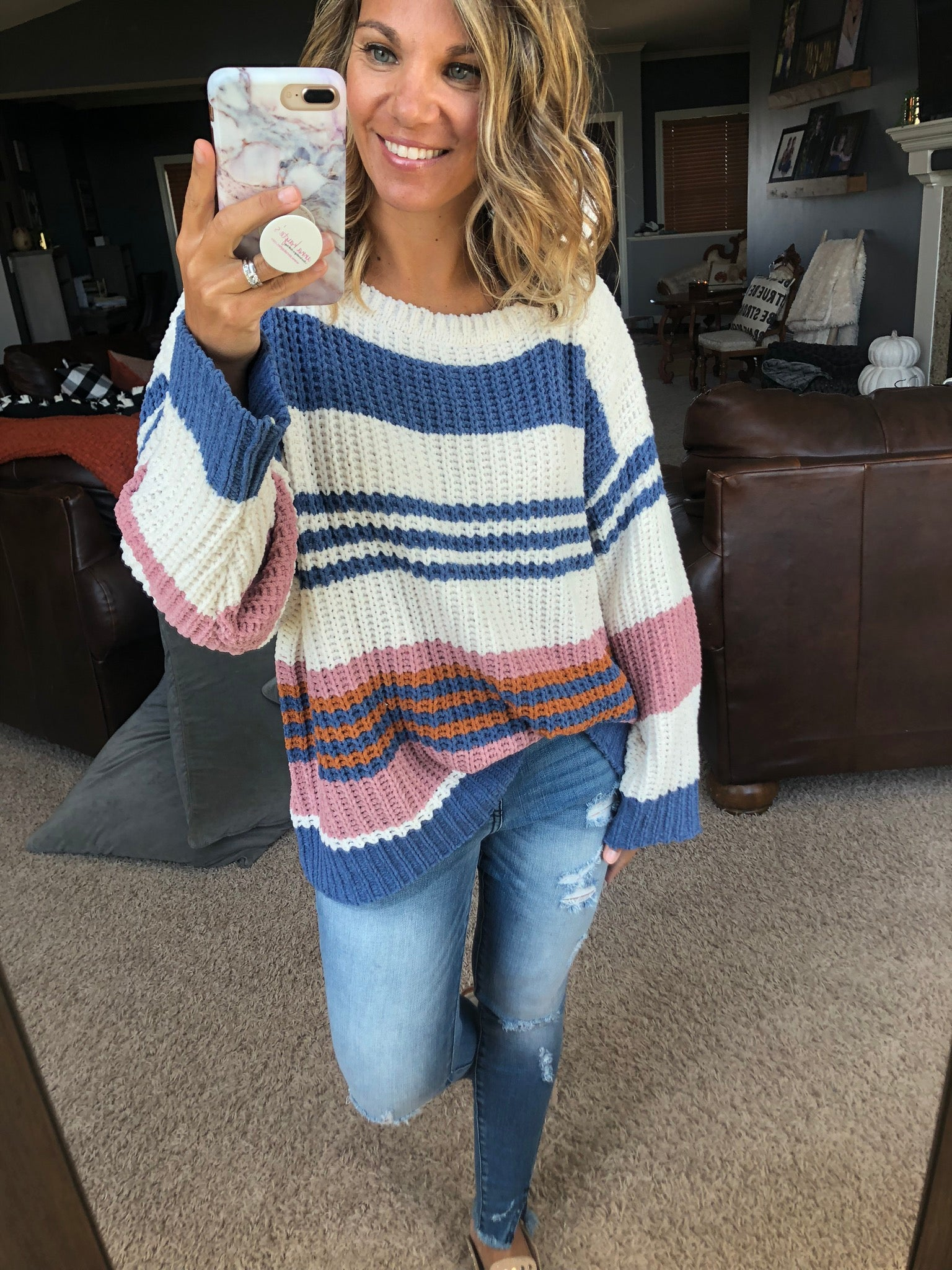 Blueberry Pie Striped Chenille Oversized Sweater