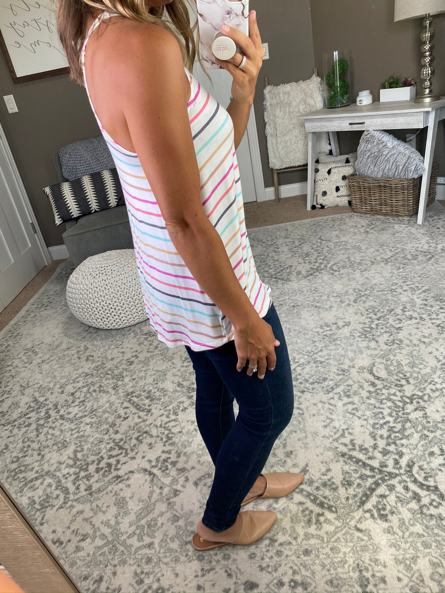 Pick Your Stripe Multi Colored Halter Tank- Ivory