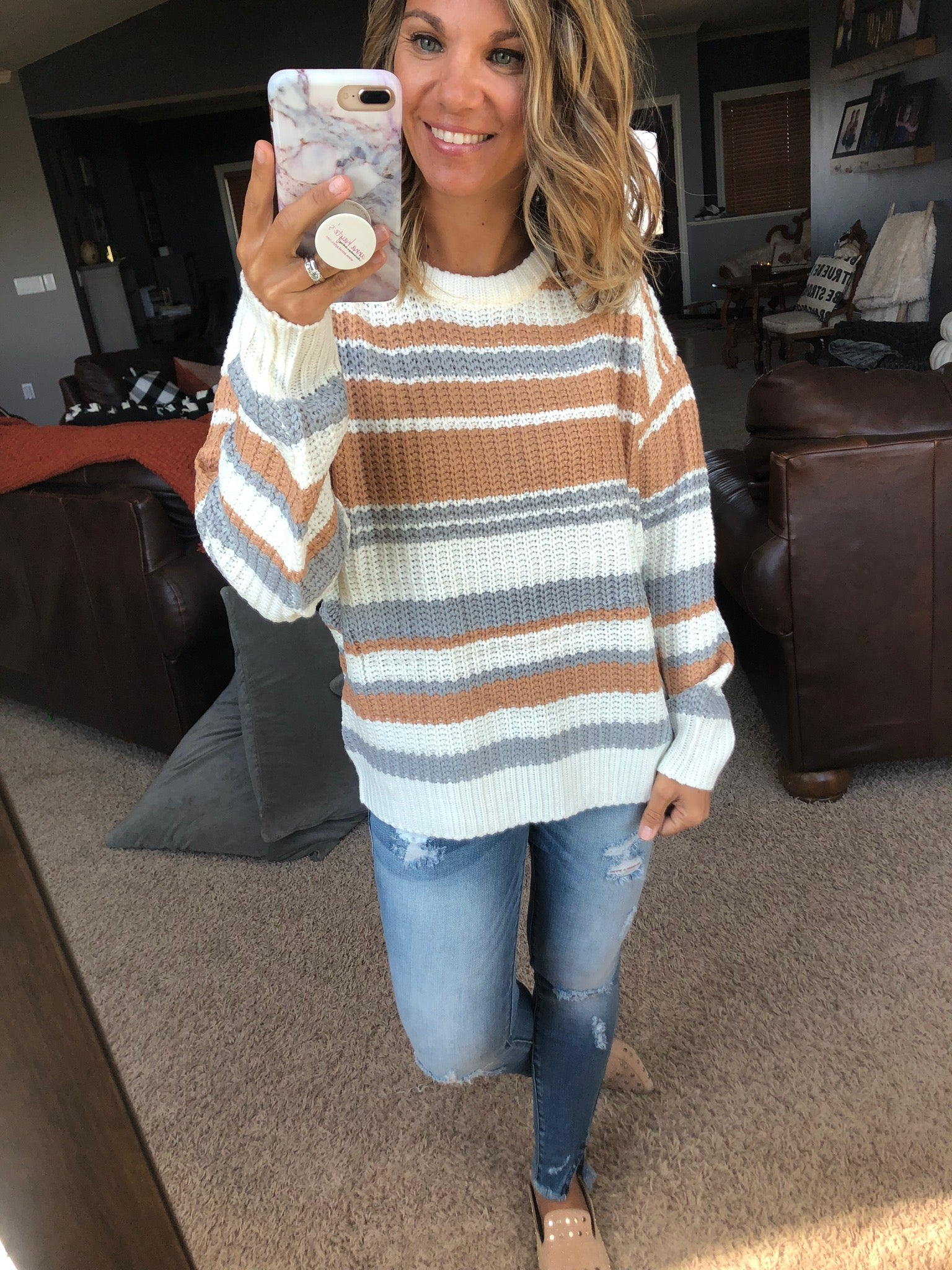 Good Thing Ivory, Camel and Grey Striped Knit Sweater