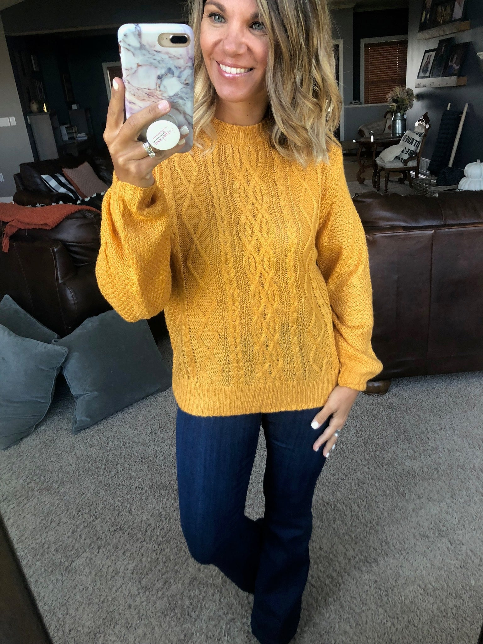 Won't Be Late Lightweight Loose Knit Sweater- Marigold