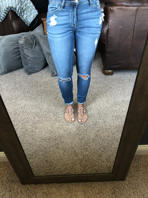 Old School Distressed Denim Mid Rise Skinny Jeans