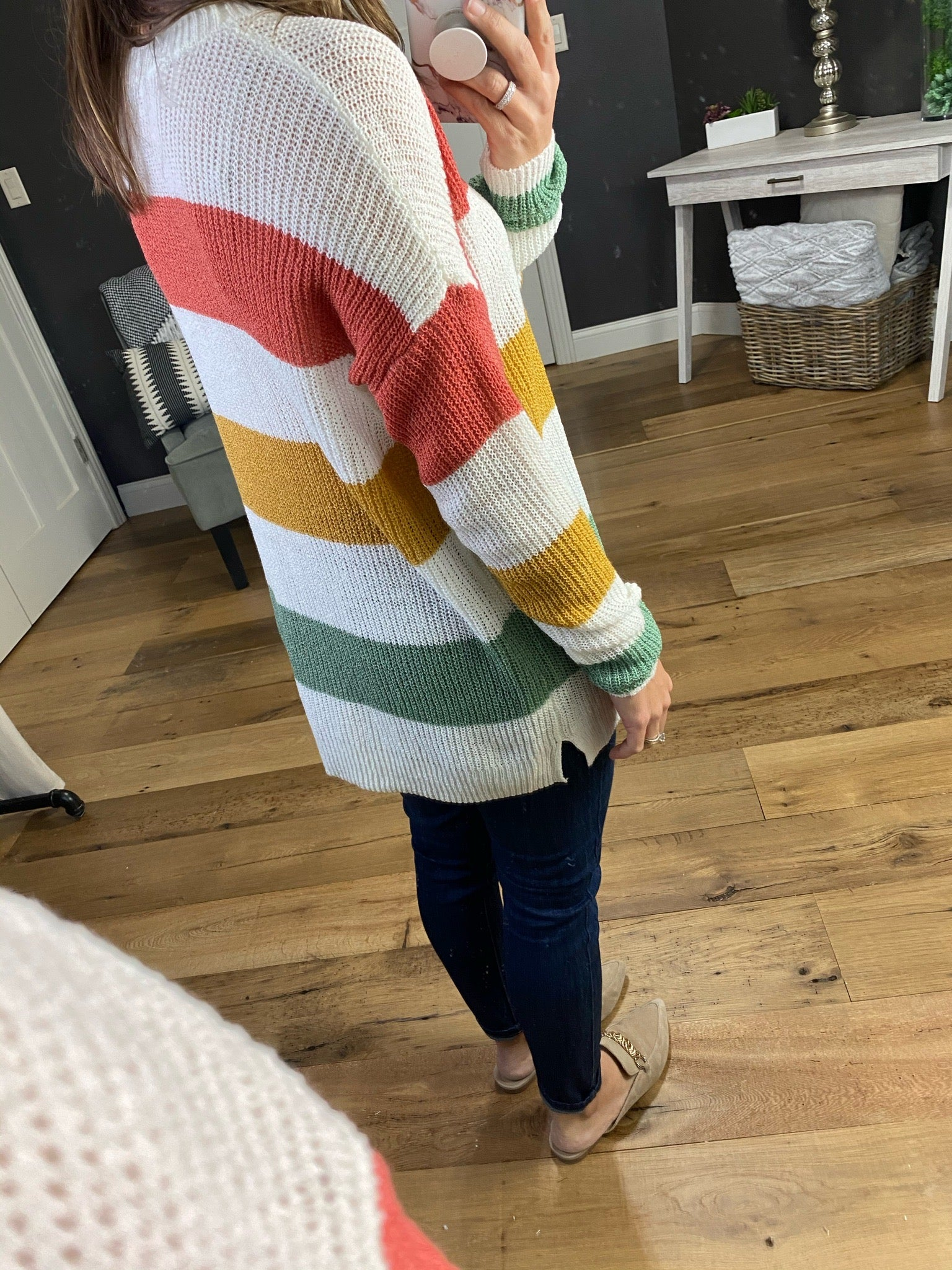 Get You Back Ivory, Coral, Olive & Mustard Striped Lightweight Knit Sweater