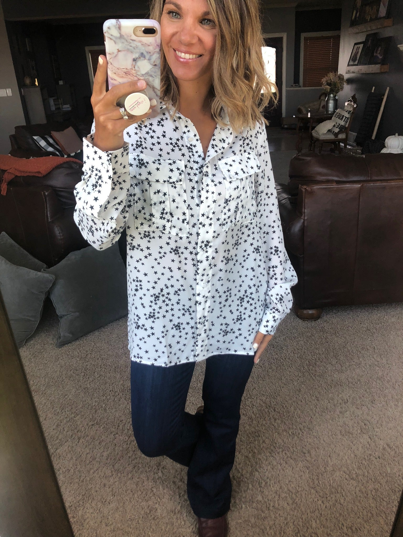Be A Star White Button Down Blouse with Black Stars