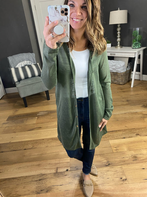 Like We Do Lightweight Burnout Knit Button Mid Length Cardigan with Pockets--Multiple Options