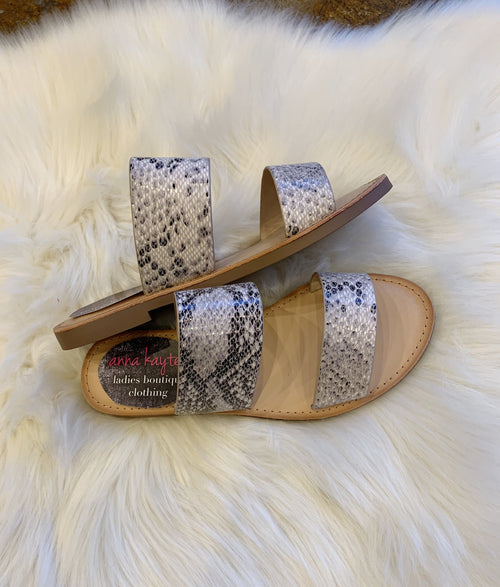 Double Take Snakeskin Sandals