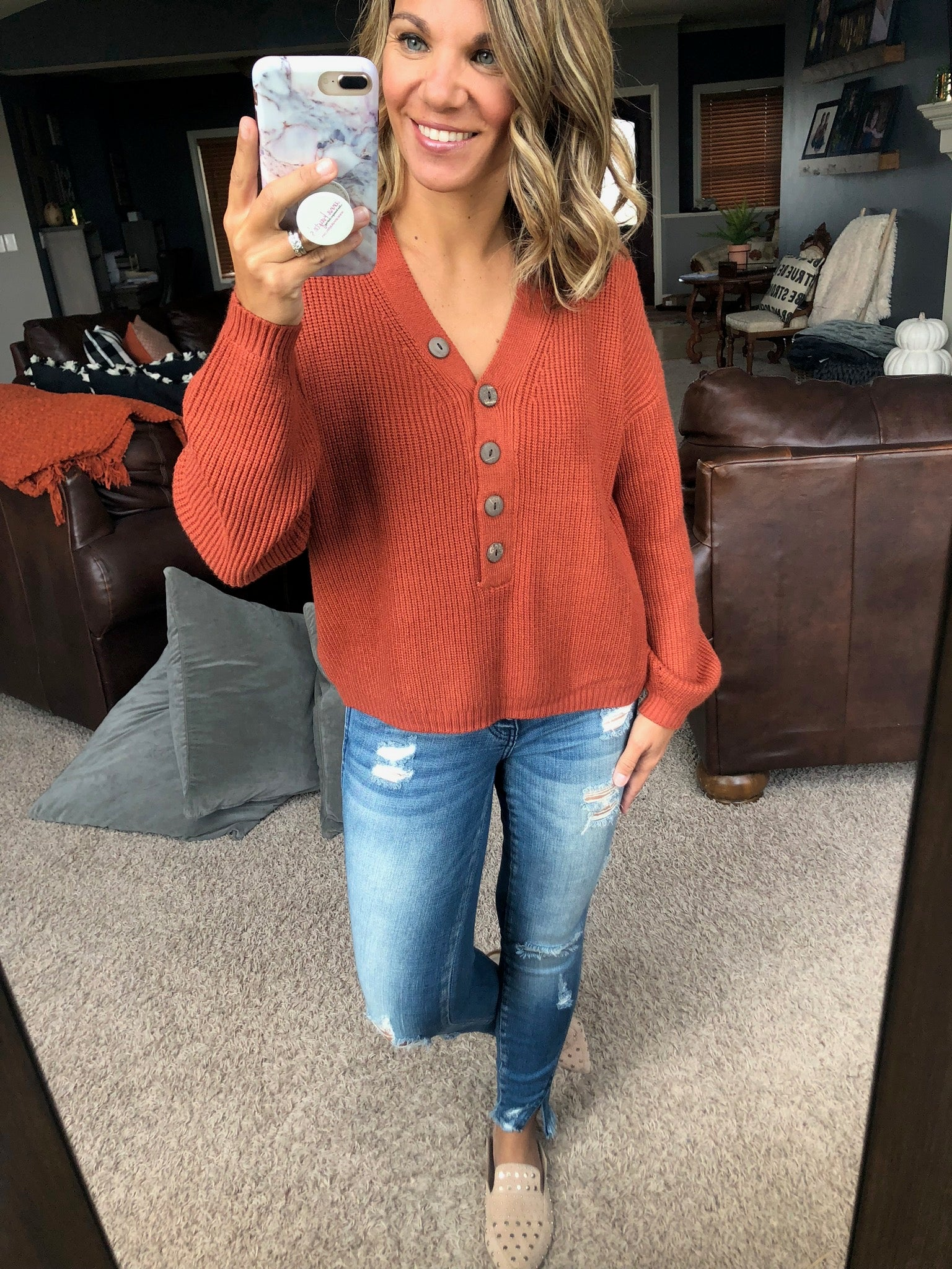 Pumpkin Cold Brew Rust Sweater with Button Detail