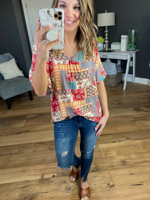 Marley Mixed Print V-Neck Short Sleeve Blouse