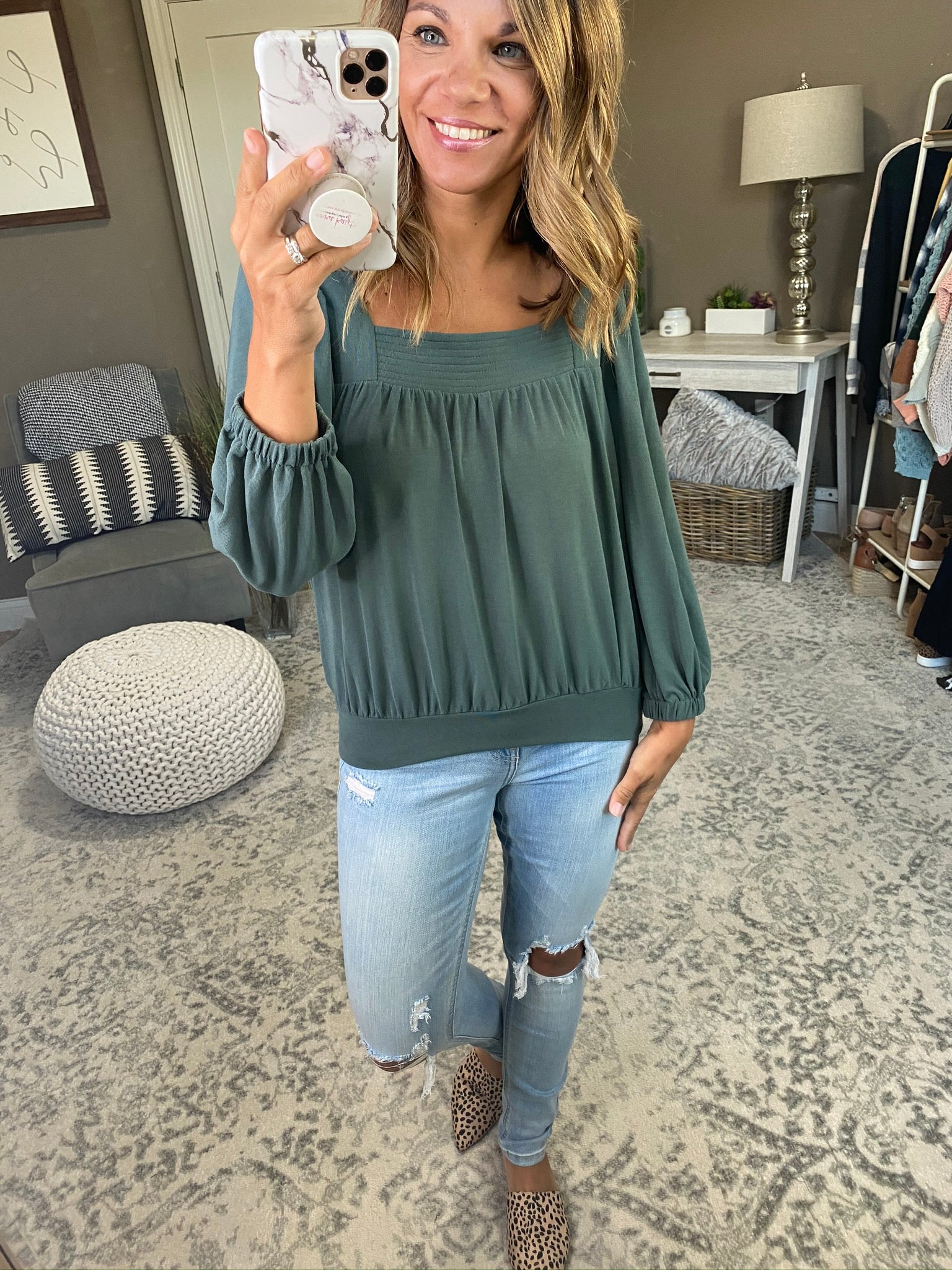 Best One Yet Boxy Balloon Sleeve Top- Basil