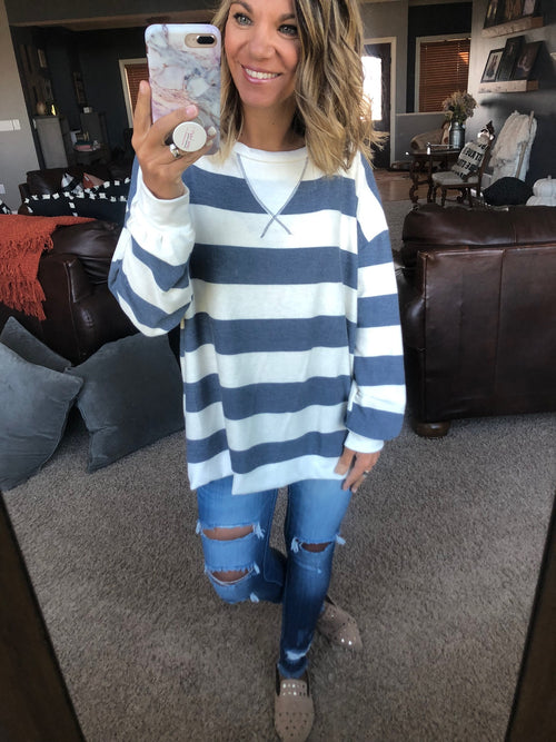 Saturday Sun Ivory and Navy Striped Long Sleeve