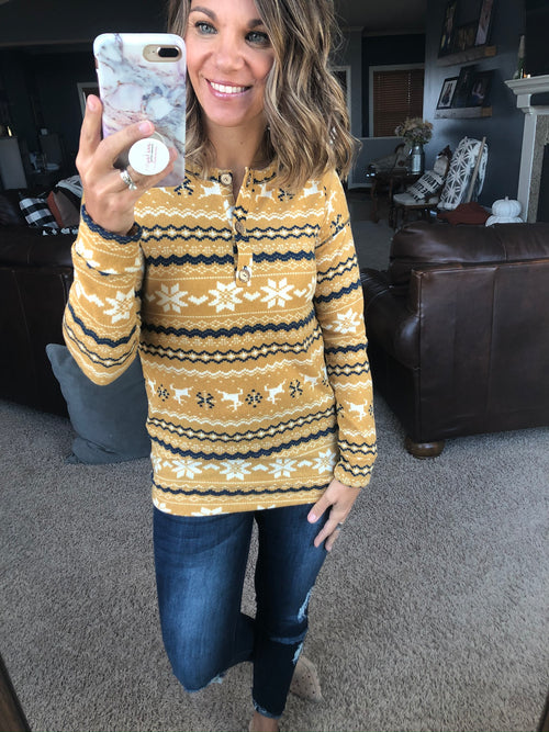 Holiday Cheer Knit Henley with 1/4 Button - Yellow