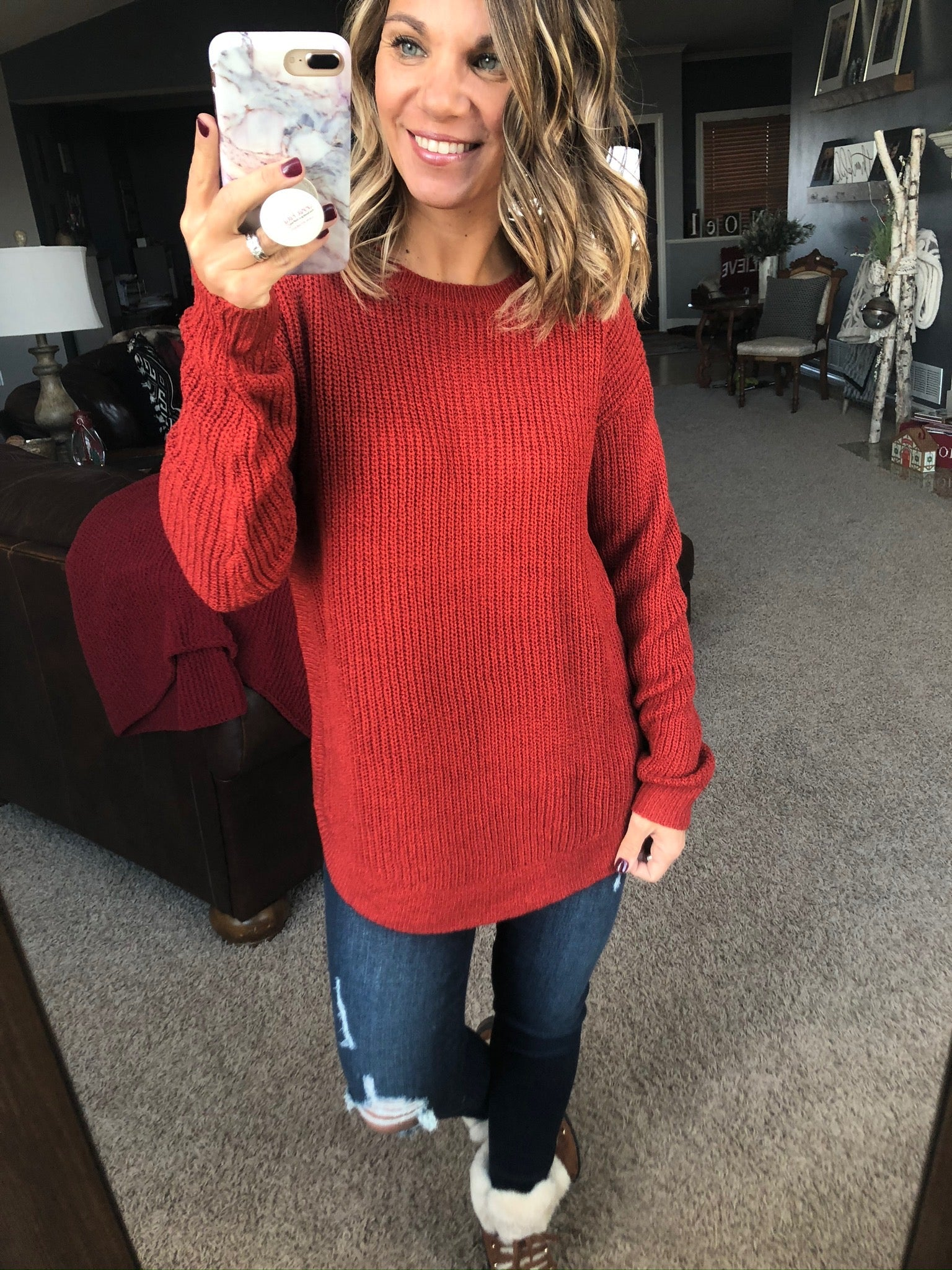 Here in Dixie Round Neck Knit Sweater - Rust