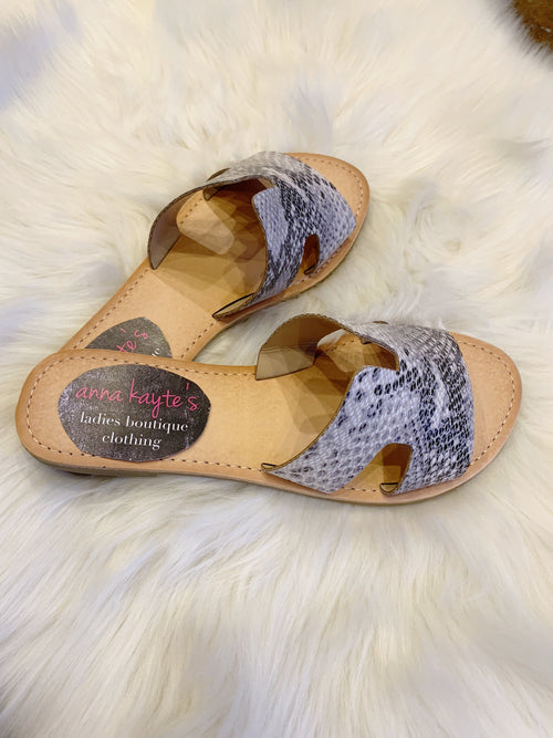 Trust Your Path Tan Snakeskin Sandals