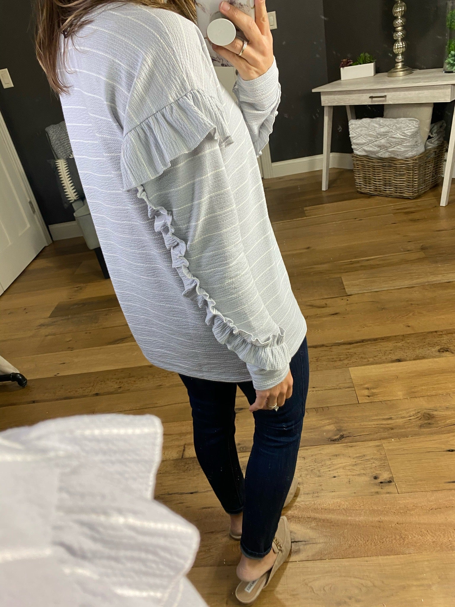 Evermore Textured Striped Long Sleeve with Ruffle Detail-Multiple Options