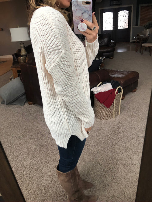 Sucker For You Loose Knit Sweater- Cream