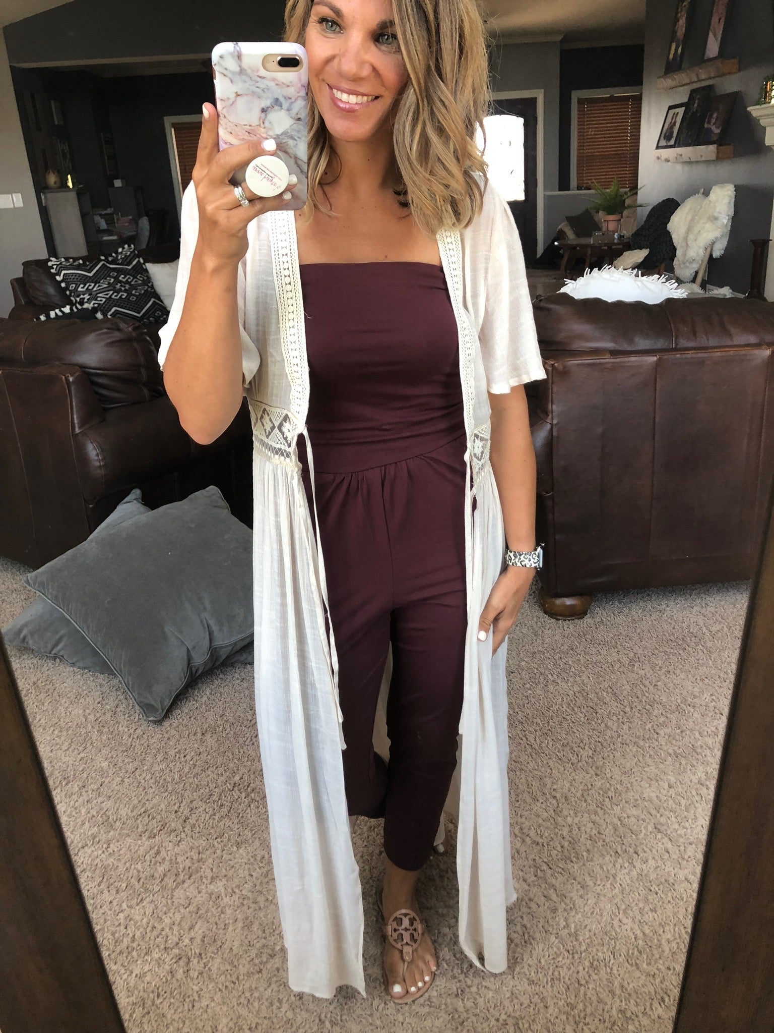 I'm A Sucker For You Wine Tube Top Jumpsuit
