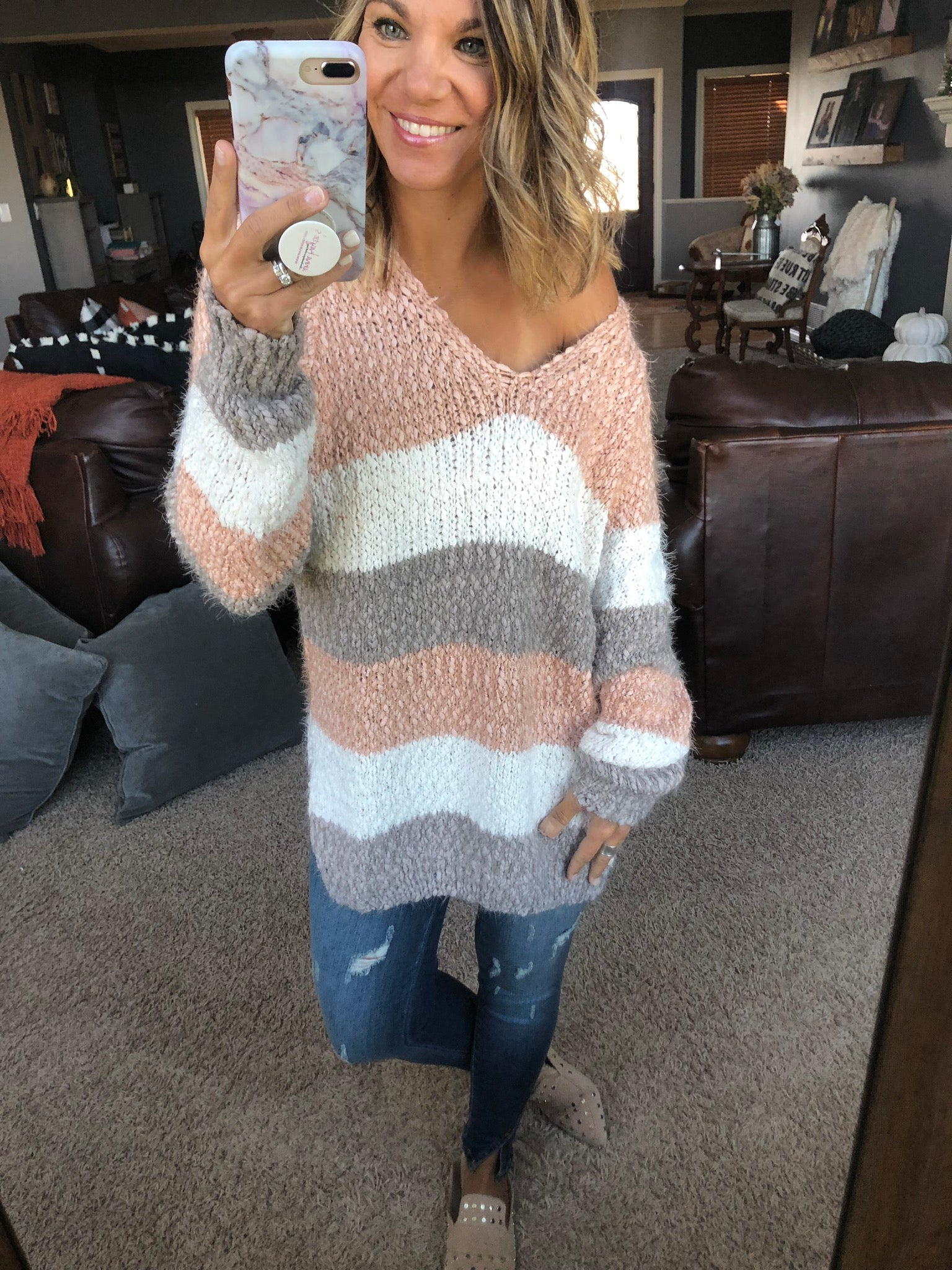 Moving On Blush Mix Stripe Mohair Knit Sweater