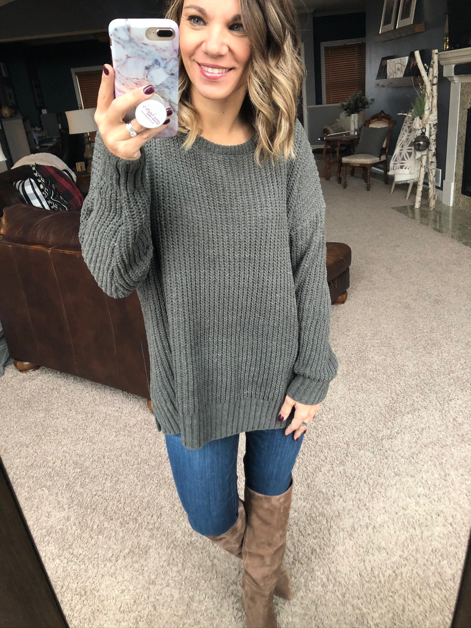 Sucker For You Loose Knit Sweater- Olive