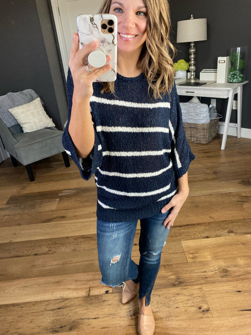 Happy Days Half Sleeve Drop Shoulder Knit Sweater - Multiple Options