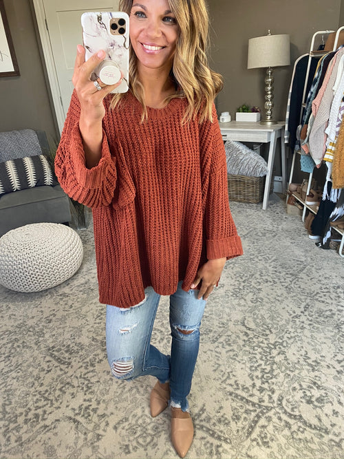 Better Together Oversized Chunky Knit Sweater with Cuffed Sleeve and Pocket- Multiple Options