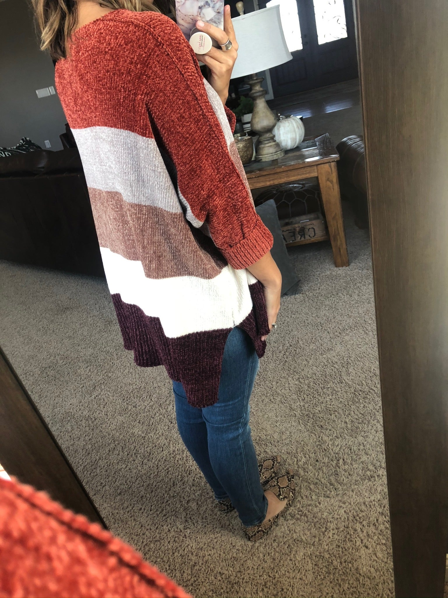 Some Nights Crushed Velvet Dolman Colorblock Sweater