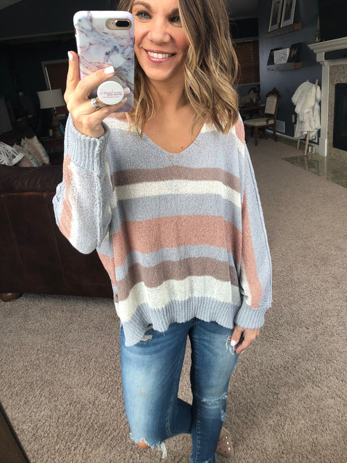 On The Open Road Blue, Taupe, Blush Mix Loose Knit V-Neck Sweater