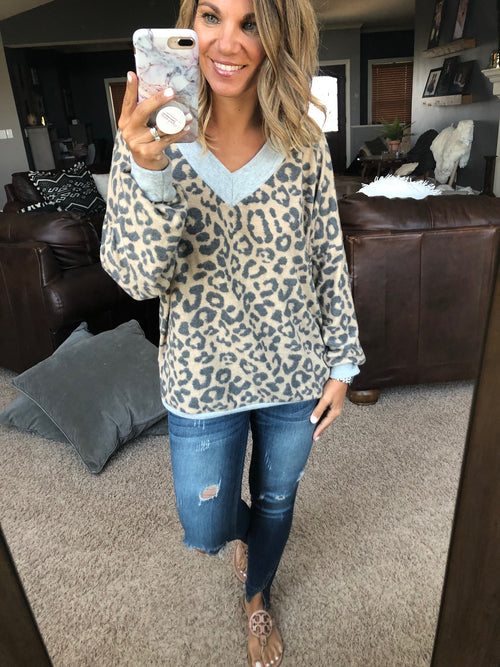 What Rhymes With Hug Me Leopard Brushed Fleece With Grey Contrast V-Neck Long Sleeve