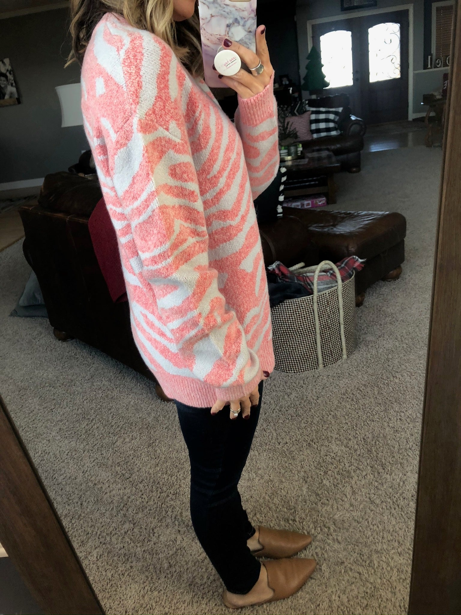 Wild Winter Pink and Ivory Animal Print Sweater
