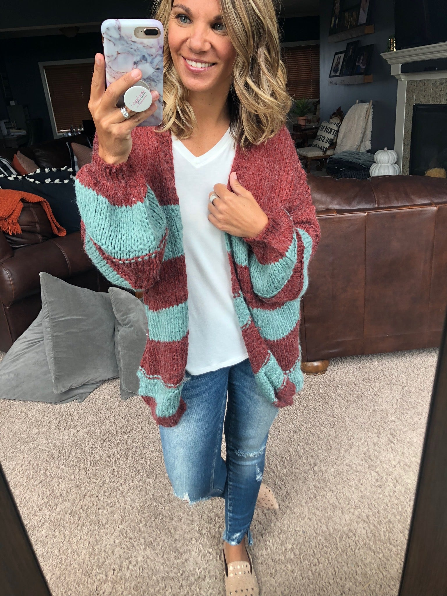 Make Me A Believer Rust and Sage Open Front Cardigan