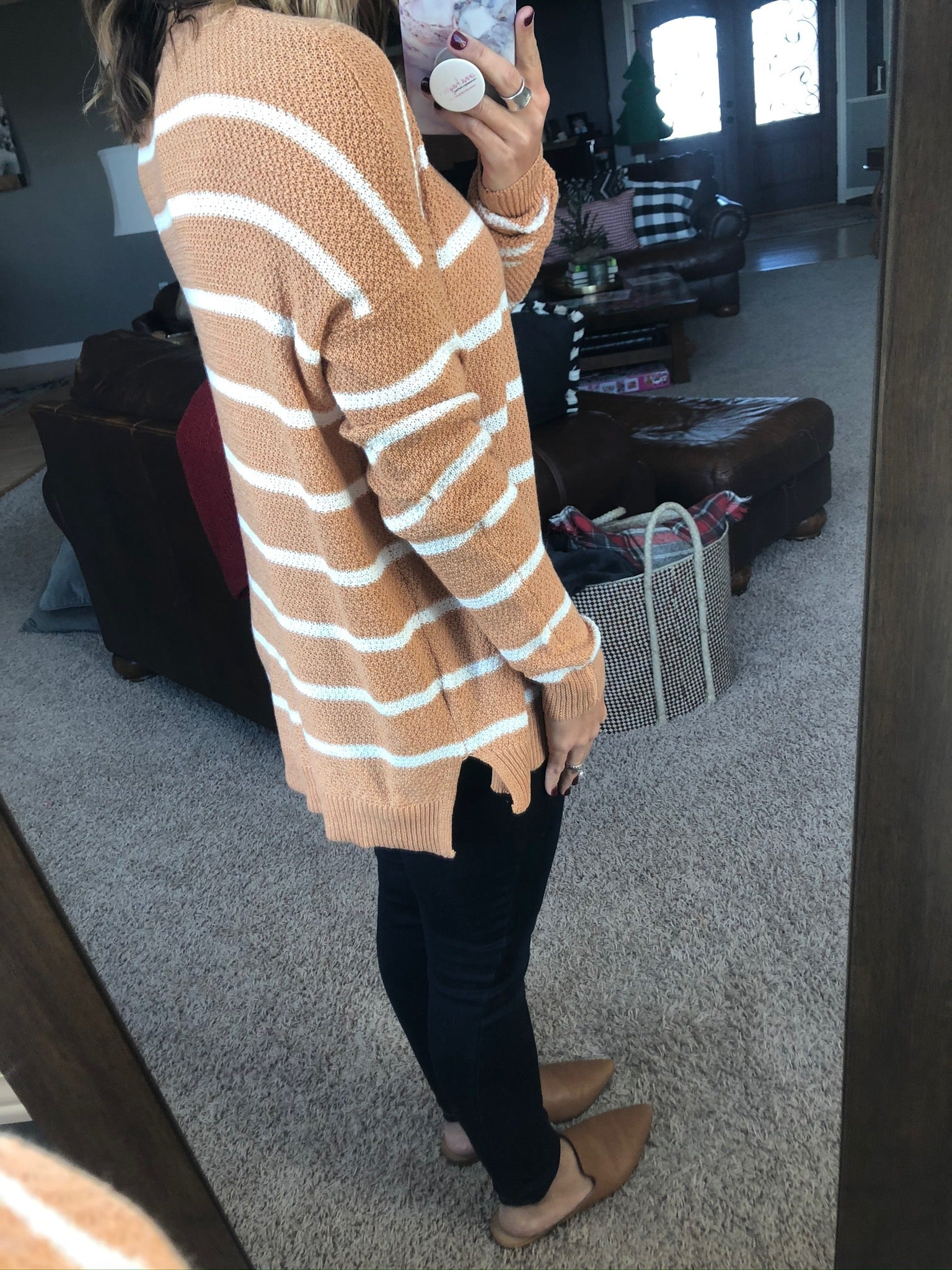 Just a Chill Medallion and Ivory Striped Knit Sweater