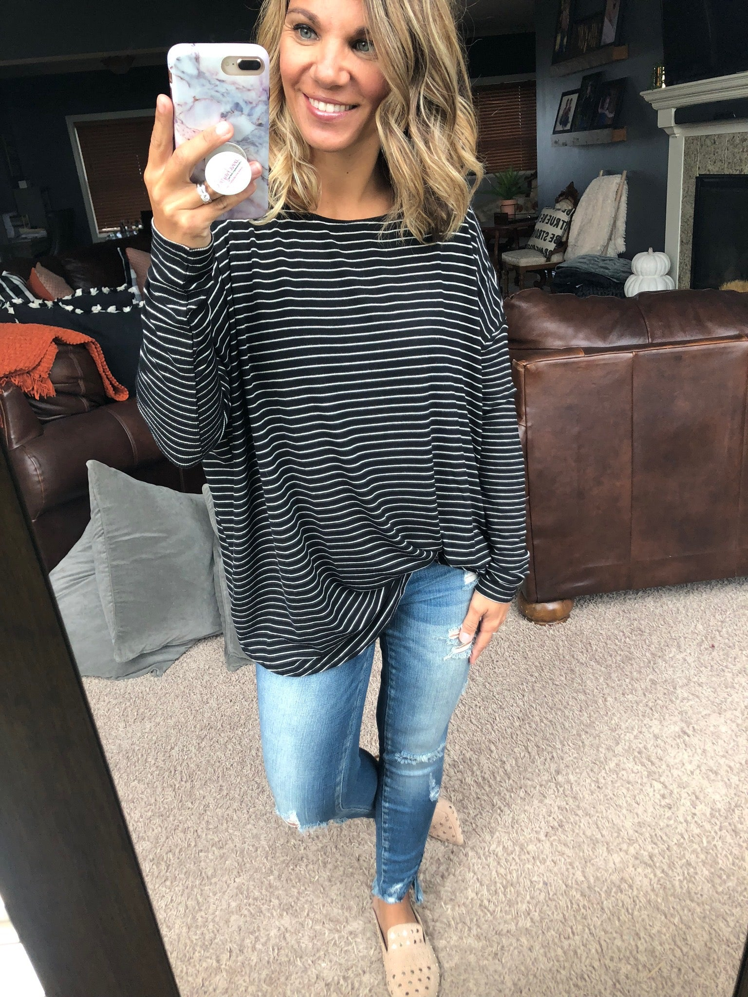 Stripe That Down Oversized Long Sleeve- Black and Ivory