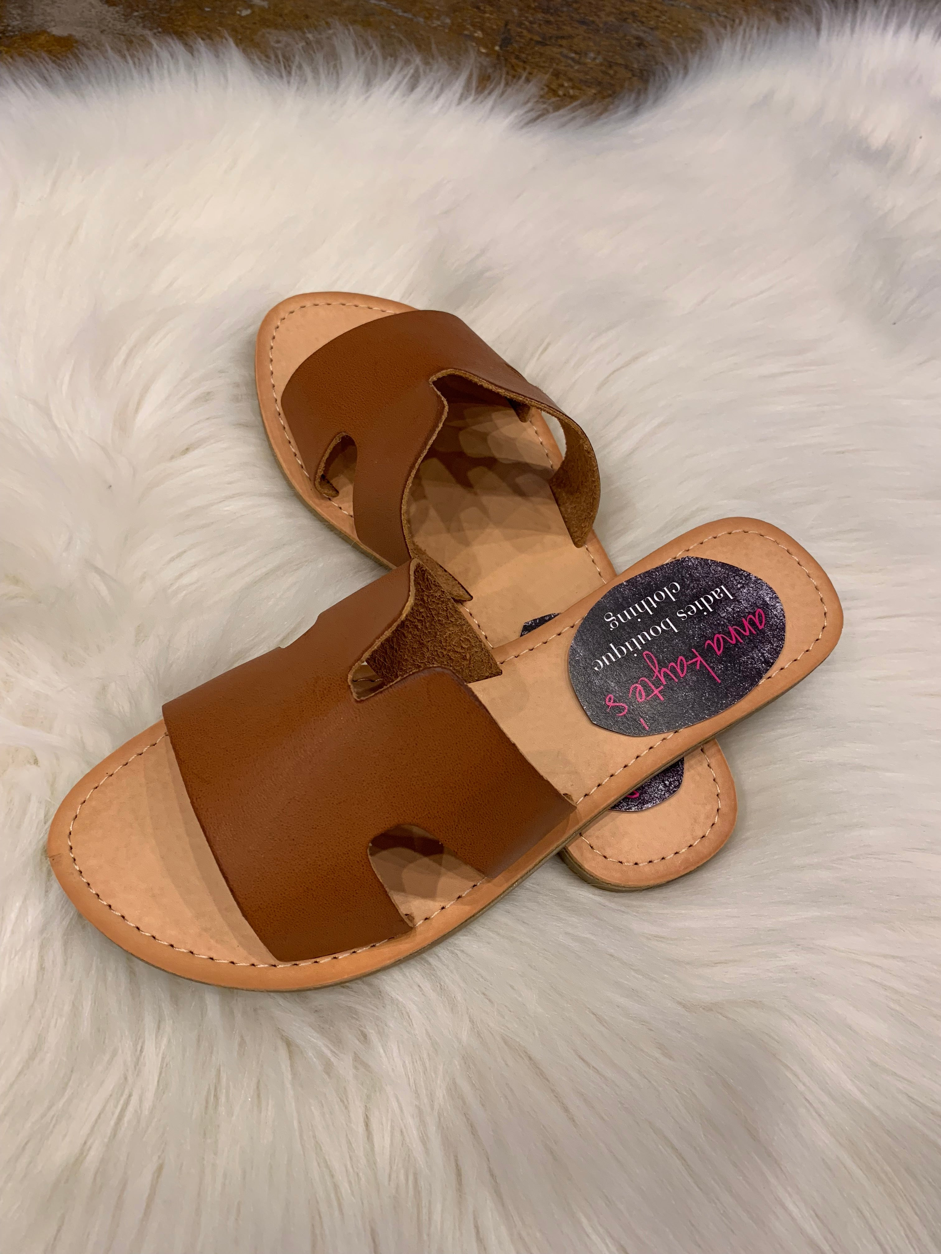 Test Your Limits Tan Distressed Faux Leather Sandals