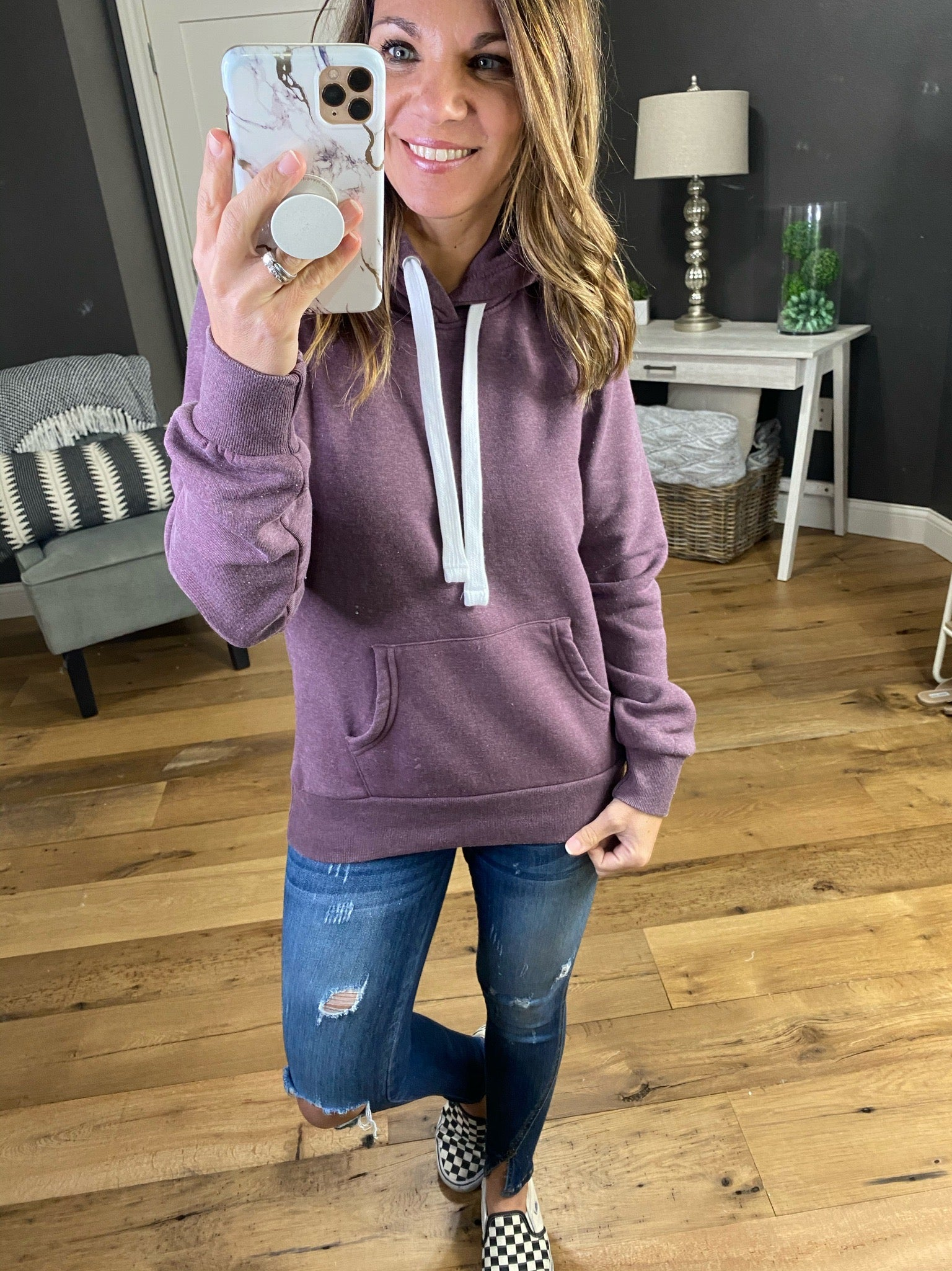 Agree On It Burnout Vintage Violet Hoodie with White Drawstring