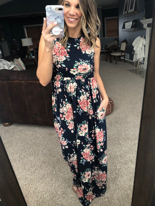 Dance In The Garden Navy Floral Tank Dress with Pockets