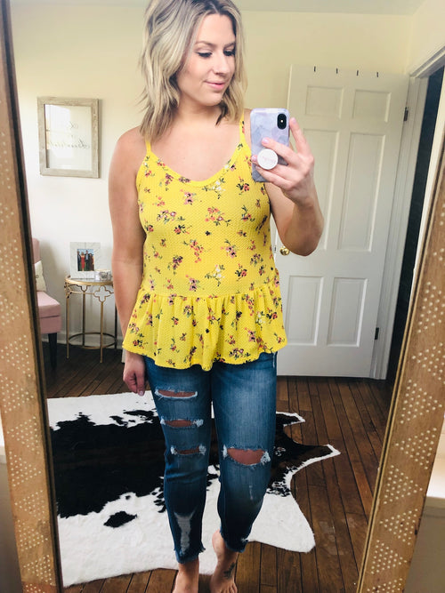 Highlight Of My Day Yellow Floral Peplum Tank