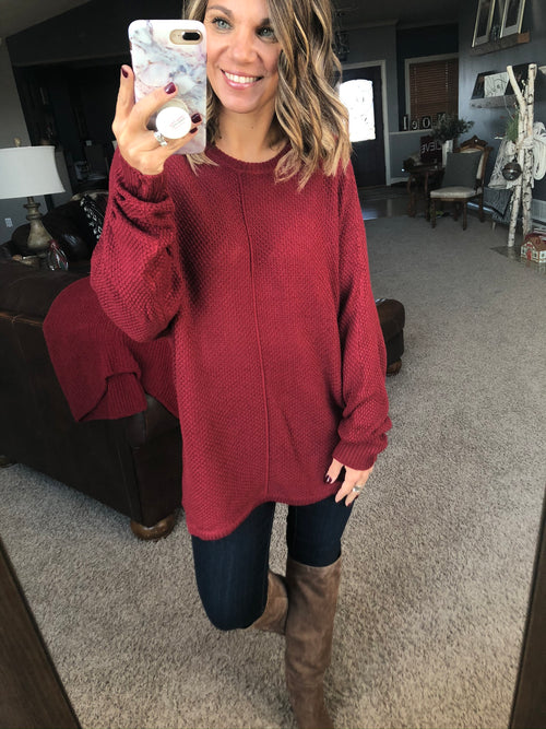 Holiday Spirit Red Exposed Seam Knit Dolman Sweater
