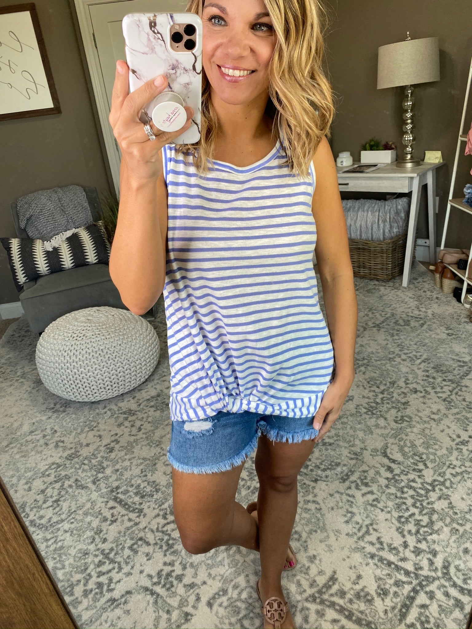 Young Love Lilac and Ivory Stripe Tank with Front Twist