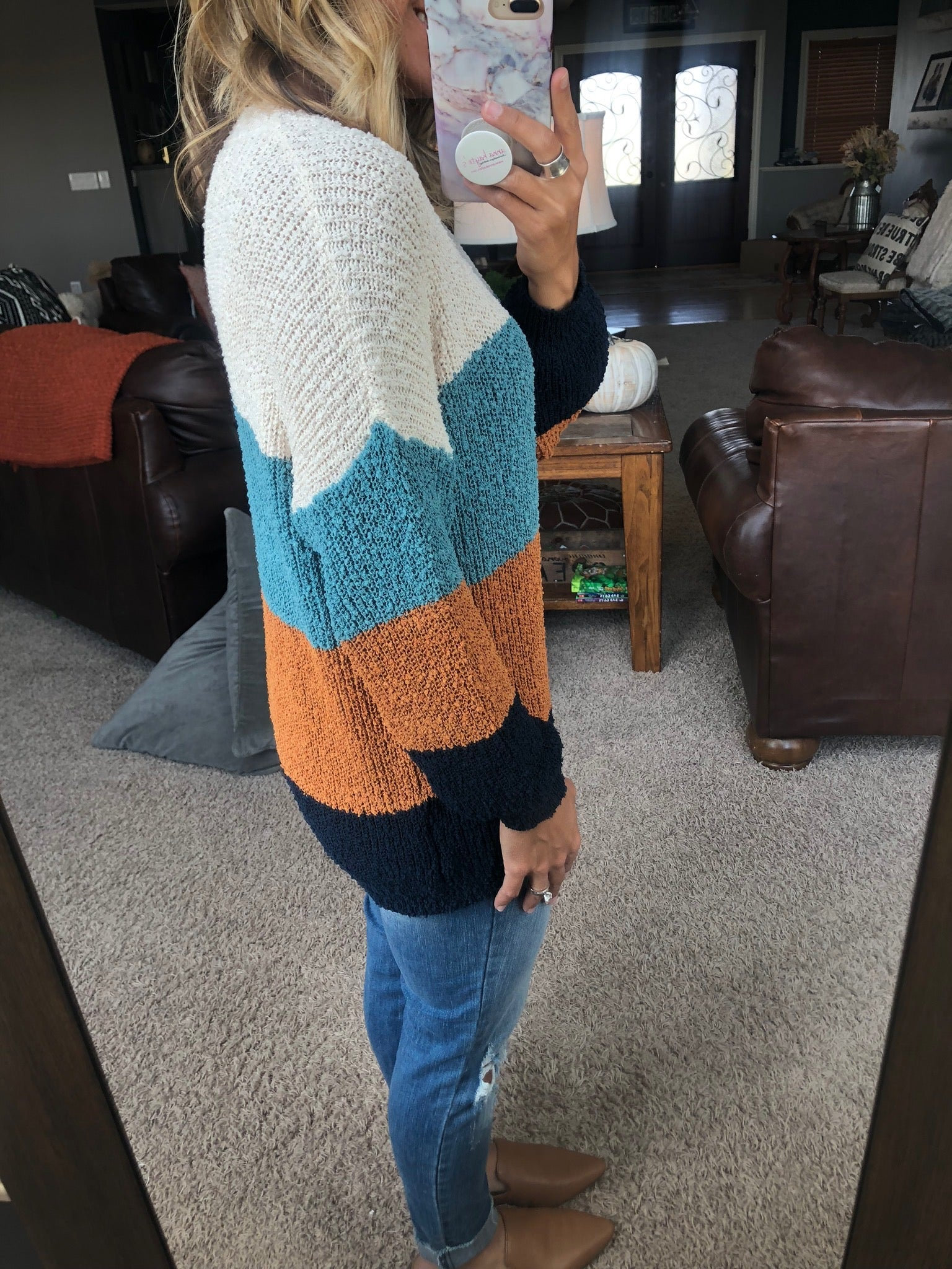 Slide Away Fall Mix Colorblock Sweater