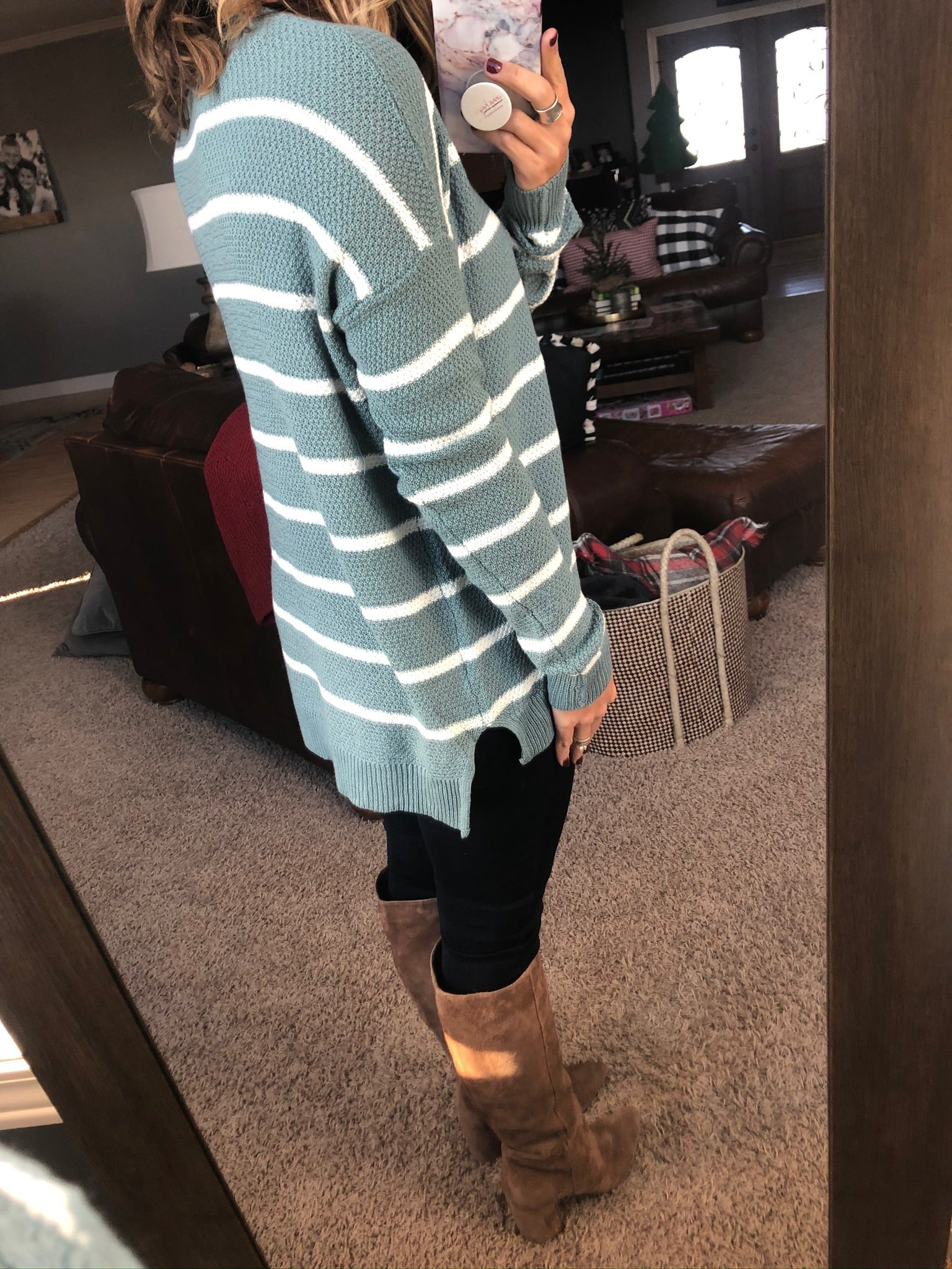 Just a Chill Light Blue & White Striped Knit Sweater